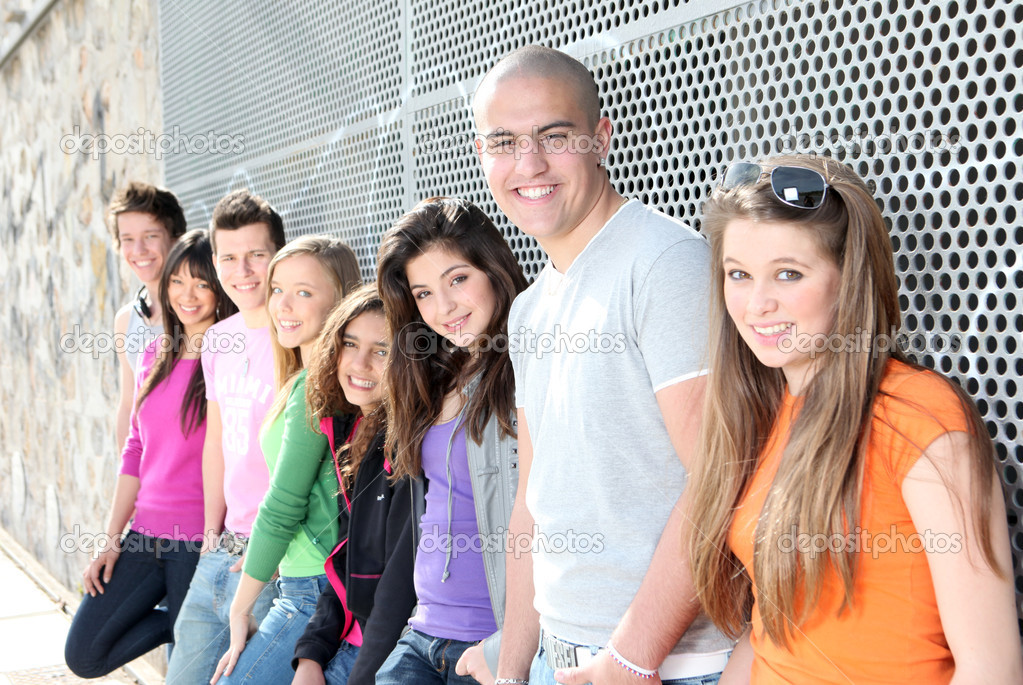 Diverse group of students or teens — Stock Photo #6361715