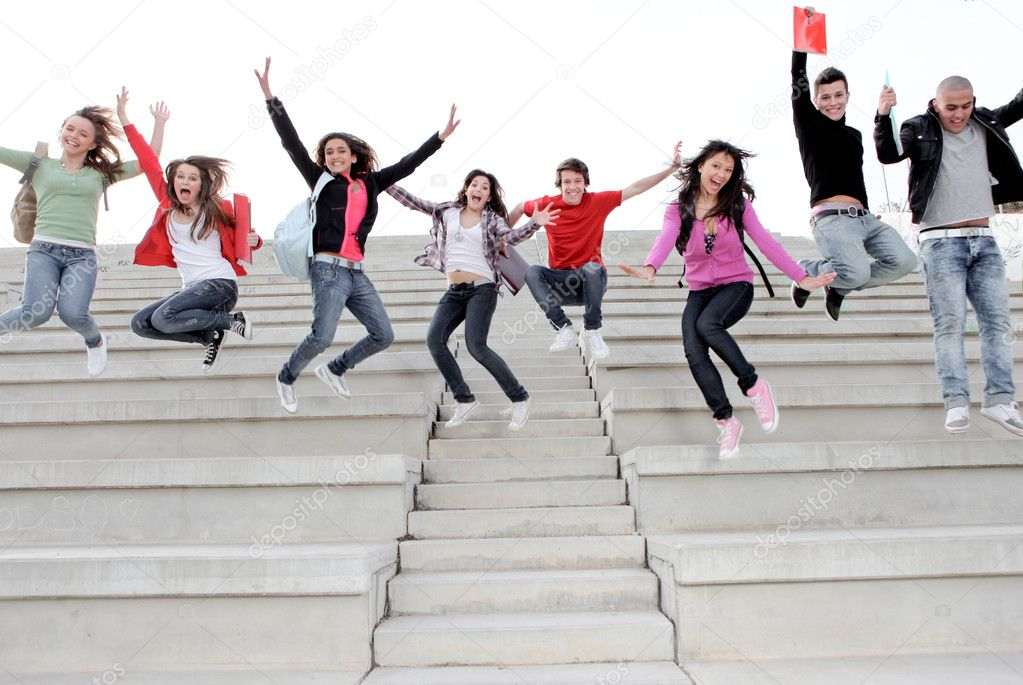 Happy university or high school children happy at end of term  Stockfoto #6361777