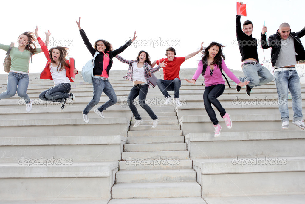 Happy university or high school children happy at end of term — Стоковая фотография #6361777
