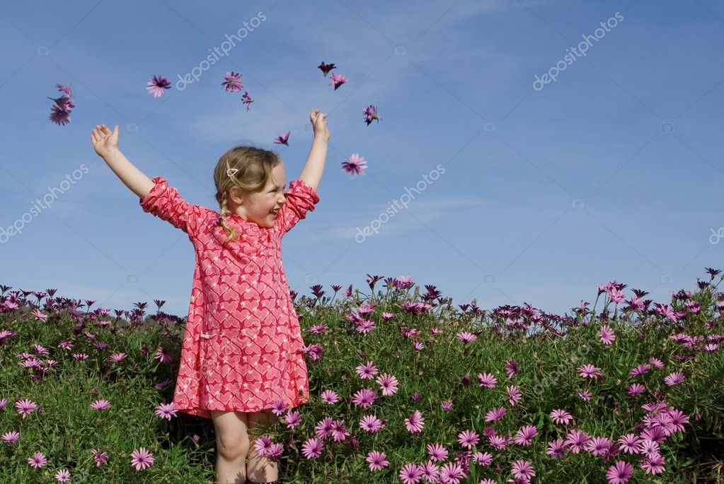 Happy summer child with flowers  Stock Photo #6361856