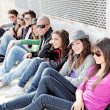 Diverse group of teens or students on campus - Stockfoto