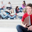 Diverse group of students working outdoors — Stock Photo