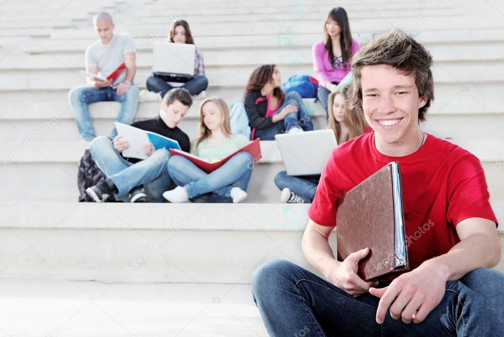 Diverse group of students working outdoors — Stock Photo #6409197