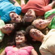 Group of happy smiling diverse kids at summer camp — Stock Photo #6469751