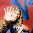 Angry rebellious teen hand up to say no — Stock Photo