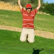Young golfer, cadet or junior celebrating win — Stock Photo