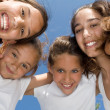 Summer camp, happy group of smiling, girls kids or children — Stock Photo #6469851