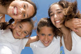 Summer camp, happy group of smiling, girls kids or children — Stock Photo