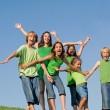 Group of smiling, kids having fun at summer school — Stock Photo