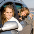 Stock Photo: Family car hire or rental on vacation