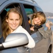 Foto de Stock  : Family car hire or rental on vacation