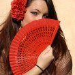 Spain, spanish woman with fan - Foto de Stock