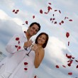 Stock Photo: Summer outdoor Wedding on beach with rose petal confetti