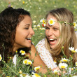 Happy girls laughing with perfect white straight teeth - Foto de Stock