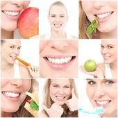 Denti, poster, mostrando la salute dentale per ambulatorio dentista — Foto Stock