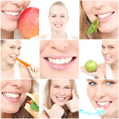 Dentes, póster com saúde dental para cirurgia dentista — Foto Stock