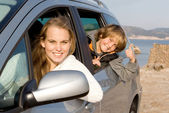 Family car hire or rental on vacation — Stok fotoğraf