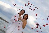 Mariage en plein air l'été sur la plage avec des confettis pétale de rose — Photo