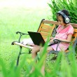 Cute girl online outdoor — Stock Photo