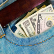 Money in my pocket US dollars — Stock Photo