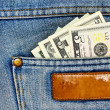 Money in the jeans pocket — Stock Photo