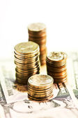 Coins and banknote dollar — Stock Photo