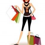 Pretty girl shopping — Stock Vector #6481379