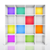 3d isolated Empty colorful bookshelf — Stock Vector