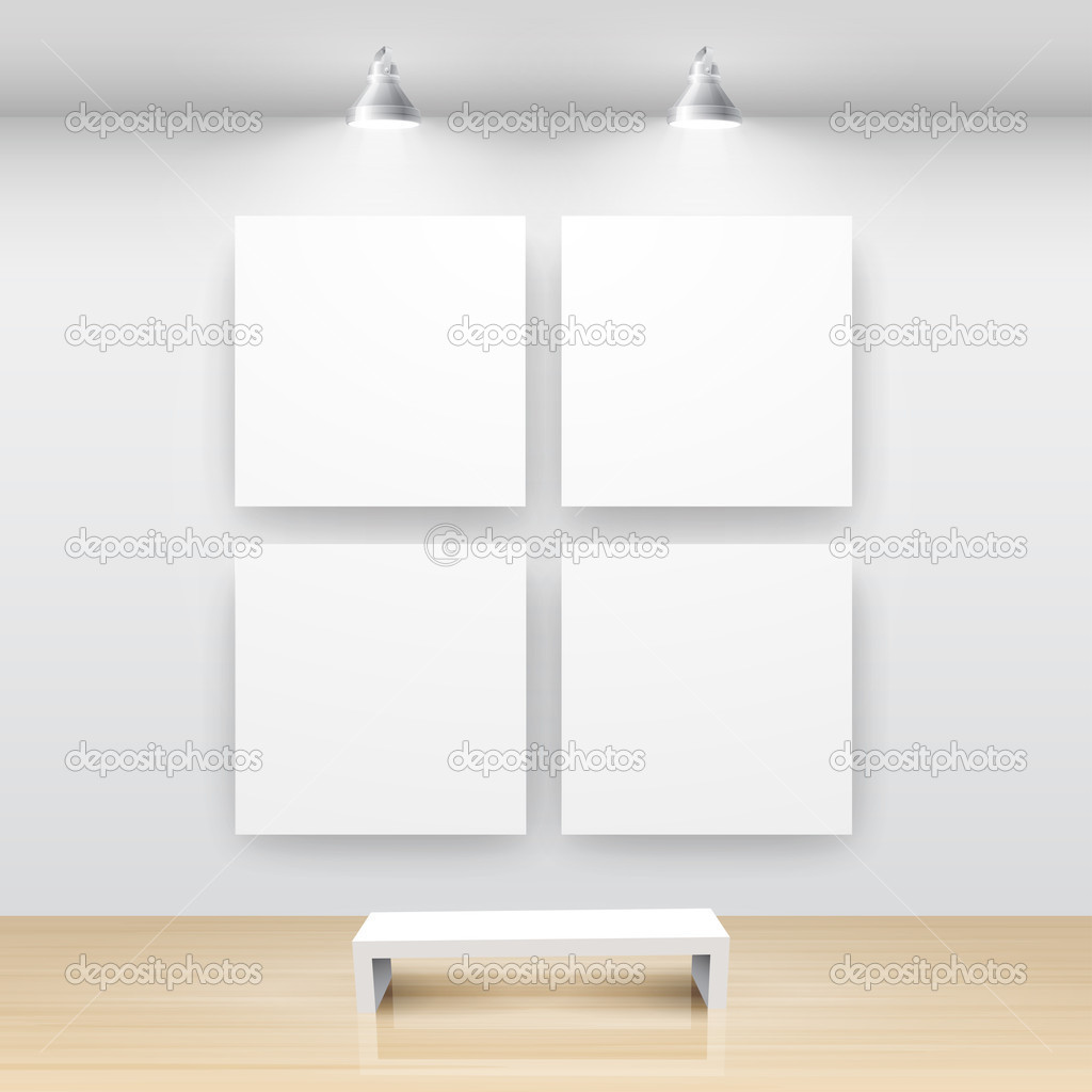 Gallery Interior with empty frame on wall — Stock Vector #5439054