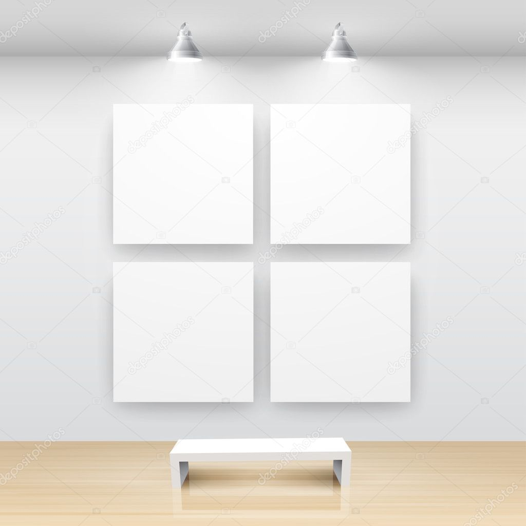 Gallery Interior with empty frame on wall — Stockvectorbeeld #5439054