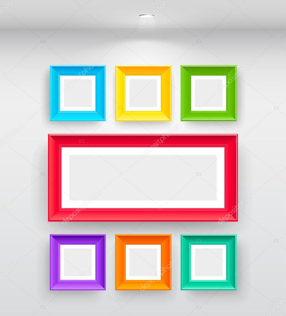 Gallery Interior with empty colorful frames on wall — Stock Vector #5439065
