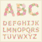 Colorful flower font — Vector de stock