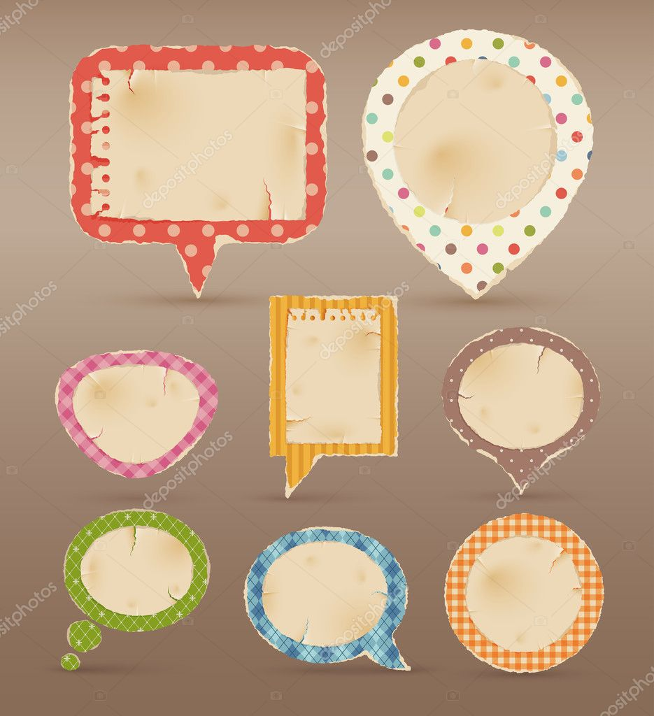 Vintage colorful bubbles for speech. Vector illustration — Stock Vector #5575127