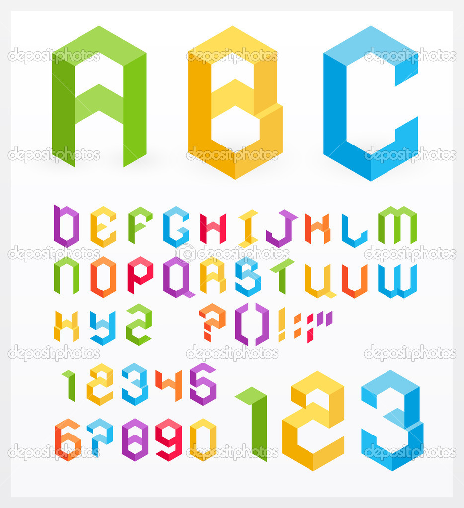 Paper 3D alphabet letters and numbers  Stock Vector #5781107
