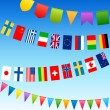 Bunting flags and country flags on a blue sky — Stock Vector