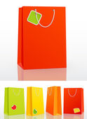 Färgstarka shopping väska på vit bakgrund — Stockvektor
