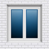 Plastic window in white brick wall from outside — Stock Vector