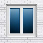 пластиковые окна в стене белого кирпича от снаружи — Cтоковый вектор