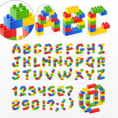 Colorful brick toys font with numbers — Stockvector