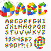 Kleurrijke baksteen speelgoed lettertype met getallen — Stockvector