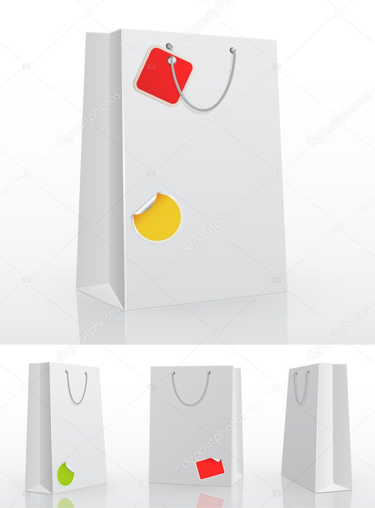 White shopping bag on white background with stickers. Vector illustration.  Stock Vector #5995124