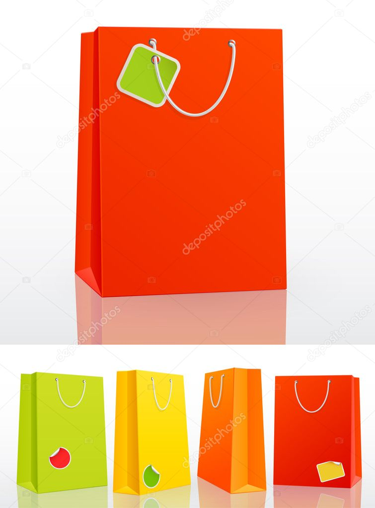 Colorful shopping bag on white background with stickers. Vector illustration. — Stock Vector #5995127