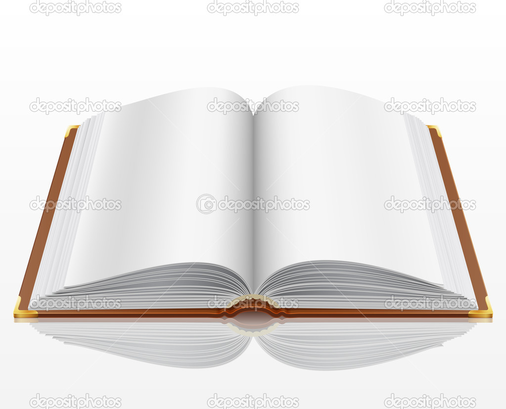 Open book with isolated on white. Vector illustration.  Stock Vector #5995383