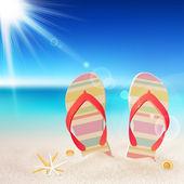 人字拖鞋和海滩上的贝壳 — 图库矢量图片