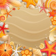 Shells and starfishes on sand background. - Imagen vectorial