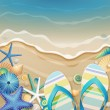 Flip-flops and shells on the beach. - Imagen vectorial