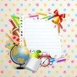 Back to school greeting card with stationery — Stock Vector