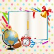 Back to school background with stationery — Stock Vector