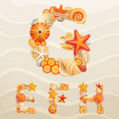 Vector sea life font on sand background. — Stock Vector