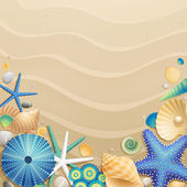 Shells and starfishes on sand background — Stock vektor